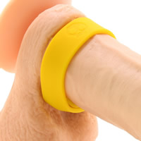 BoneYard 3 Snap Silicone Cock Strap - Yellow